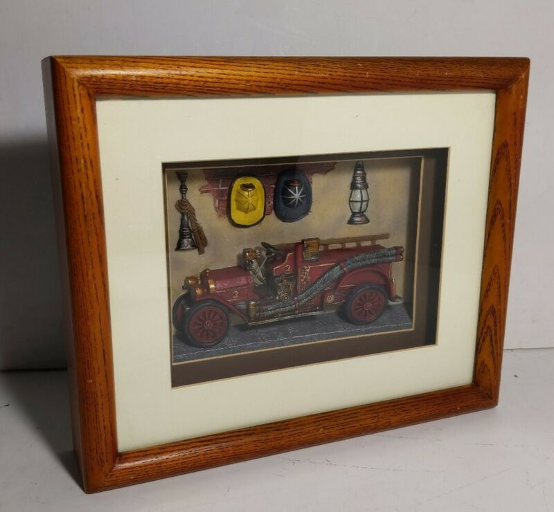 Vanmark Red Hats of Courage Firetruck Wood Framed 3D Picture Art