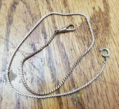 """VTG Antique Ornate Gold Filled Snake Link Pocket Watch Chain 9.9g 17"""" NICE"""