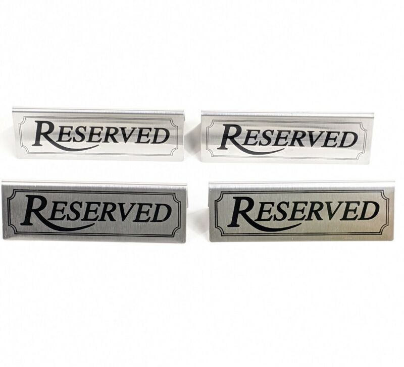 Lot Of 4 Brushed Stainless Steel Reserved Table Signs 2-Sided Weddings Banquets