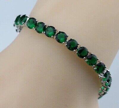Round Shaped Gemstone Bracelet (Green Emerald  Round  Shaped Gemstones Tennis 925 Silver Bracelet 7-8