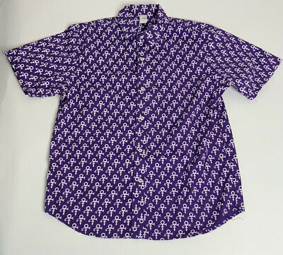 Prince Logo All Over Paisley Park Purple Rain Button Up Shirt Mens Size Med NWOT