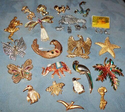 Great Lot  21  Vintage  Designer Signed  Animal Theme  Pins  Many Names