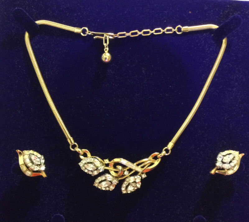 """vintage signed Trifari  Alfred Philipp necklace and earrings """"Halo"""" Book Piece."""