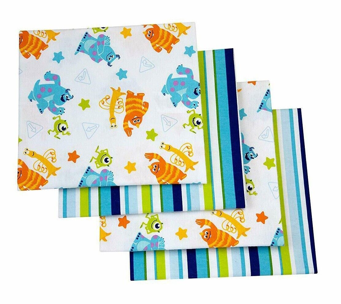 Disney Monsters Receiving Blankets 4 Pack 100% Cotton Flanne