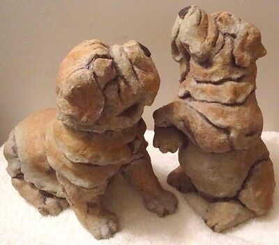 "Vtg Pair Large Shar Pei Dog Resin Figurine 8"" Standing & Sitting Puppy Sculpture"