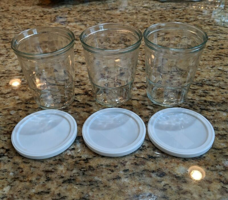 3 VINTAGE BALL Jelly Jars Clear Glass White Plastic Lids