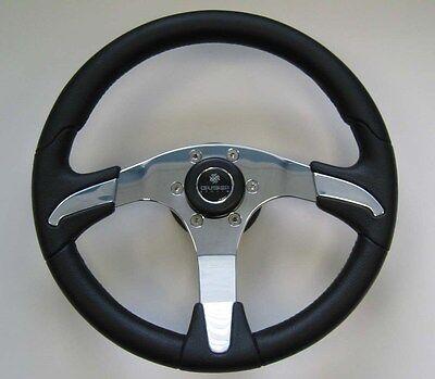 New Oem Gussi Boat Steering Wheel M450 Chromed Abs Inserts On Black Urethane Rim