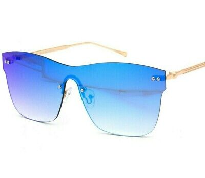 Mens Women Retro Modern Horned Rim Flat Blue Mirrored Lens Reflective Sunglasses