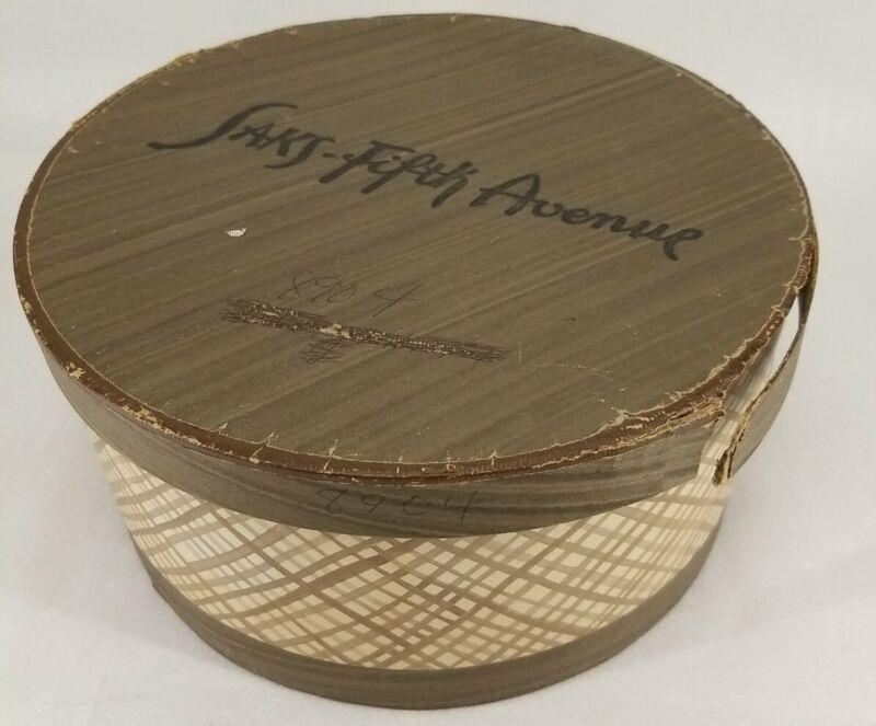 Vintage Saks Fifth Avenue Hat Box Brown Plaid New York USA Retail Advertising