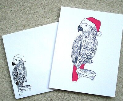 African Grey Parrot Christmas Holiday Cards & Envelopes Exclusive Design 12 Pk