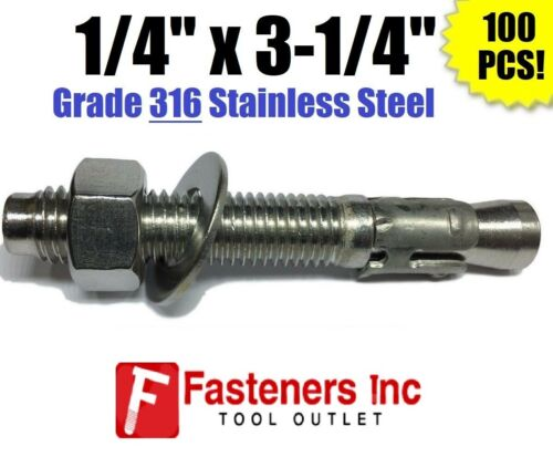 "(QTY 100) 1/4"" x 3-1/4"" Concrete Wedge Anchor Stainless Steel GRADE 316 1/4-20"