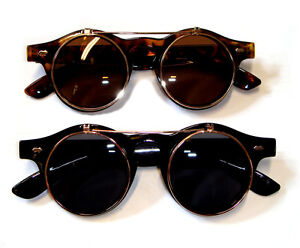 Steampunk Goggles Glasses Round Sunglasses Emo Retro Vintage Flip Up Cyber Punk