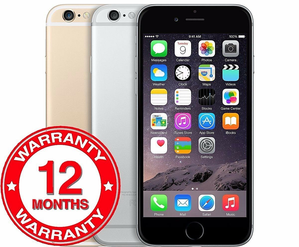 SELLER REFURBISHED APPLE IPHONE 6 - 16GB 64GB 128GB - UNLOCKED SIM FREE SMARTPHONE COLOURS GRADES