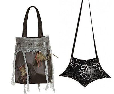 Tasche Spinnennetz für Kostüm Hexe mit Spinnweben schwarz Ratte Halloween