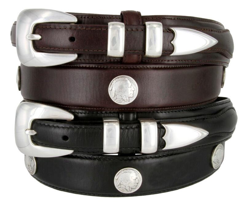 """Buffalo Nickel & Indian - Western Genuine Leather Ranger Belt, 1-3/8"""" Wide"""