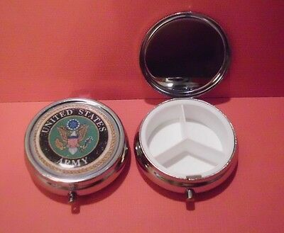 U.S. ARMY PILL CASE HOLDER VITAMIN BOX MEDICATION ORGANIZER POCKET SIZE