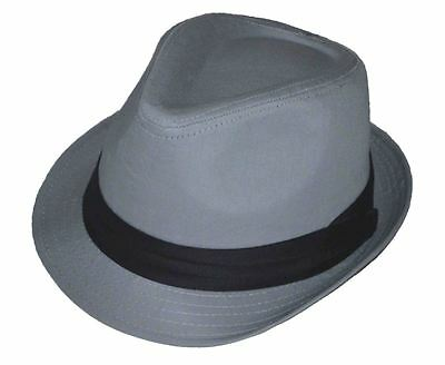 Charcoal Gray Basic Fedora Hat Cap with Black Band-xxl-2xl-62cm(#105)