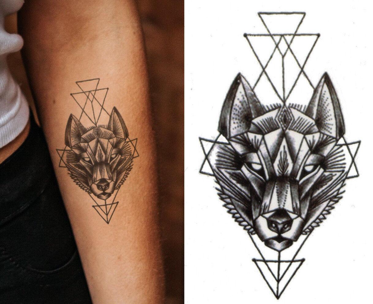 Temporary Tattoo Black Geometric Wolf Fake Body Art ...