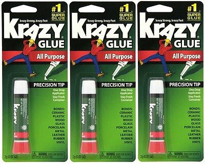 Krazy Glue Original Super Strong Fast All Purpose Precision Tip Instant 3 Packs