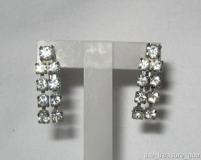 ~VTG~Foil Back Prong Set Crystal Clear Rhinestone Screw Back Dangle Earrings~EXC Clear Rhinestone Screw Back Earrings