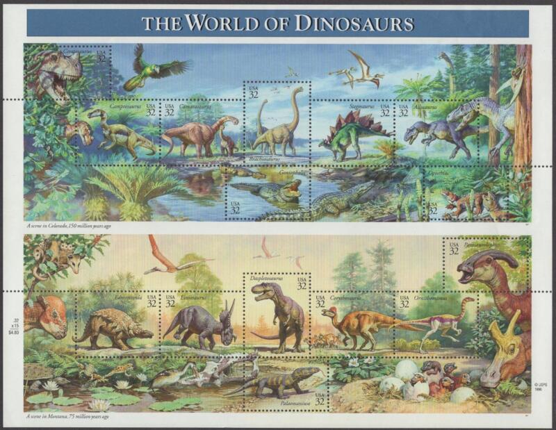 Scott # 3136 - US Souvenir Sheet Of 15 - The World Of Dinosaurs - MNH - 1997