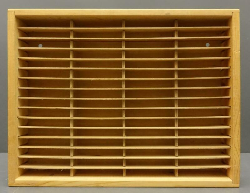 "vtg Napa Valley Box Co Wooden 64 Slot Cassette Tape Storage Rack Craft 19.5""x15"""