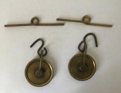Antique Pair weight Vienna regulator Brass wall Clock weight Pulleys bras stops