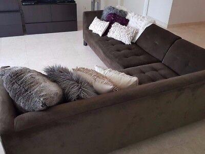 Z Gallerie Dark Brown Suede 2 Piece Sofa