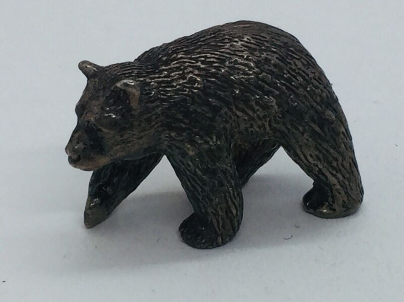 Antique Solid Sterling Silver Figural Bear Miniature Figurine 89.4g
