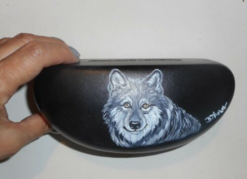 Wolf Hand Painted Eyeglass Sunglass Hard Case