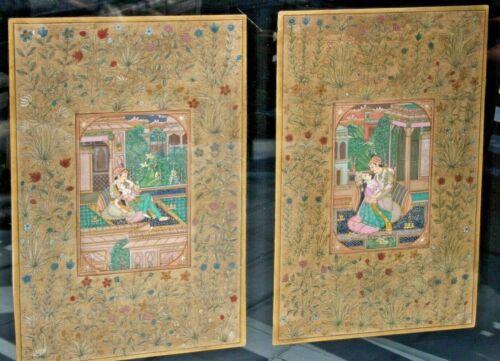 Two Signed Babulal Marotia Persian Miniature Paintings Gold Frame Manuscript Art