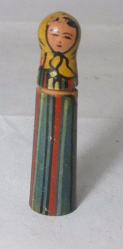 Russian Woman Painted Wood NEEDLE CASE ; ANTIQUE c1800