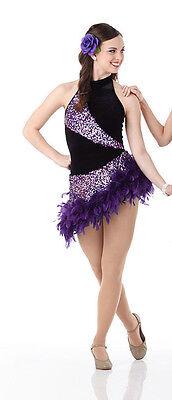 Girls Ballroom Dress (Ballroom Salsa Dance Dress Jazz Tap Costume Tango PURPLE Child & Adult)