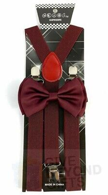 Burgundy Bow tie and suspender matching combo set Formal Wed