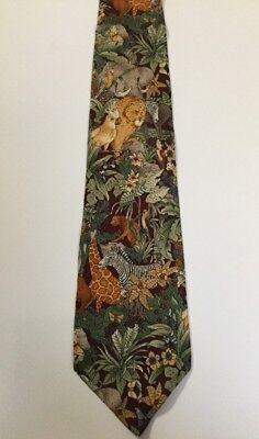 Giraffe Lion Bird - Africa Jungle Zebra Giraffe Lion Bird Animal Wildlife Dress Men Neck Tie #B32-15