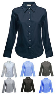 Ladies-Long-Sleeve-Premium-Oxford-Formal-Shirts-Size-8-to-24-WORK-CASUAL-LEISURE