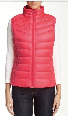 Be By Blanc Noir Xs Red Down Feathers Vest Packable Quilted Puffer Outerwear](blanc noir puffer vest)