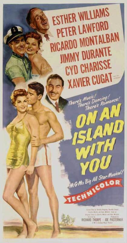 ON AN ISLAND WITH YOU Movie POSTER 14x36 Insert Esther Williams Peter Lawford