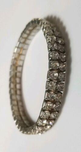 Vtg Bangle Tennis Bracelet Stretch Ab Crystal Glass Silver Tone Retro Jewelry  - $9.98