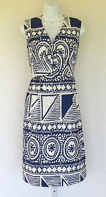 VINTAGE 1960s 70s MOD MALIA OF HAWAII ETHNIC DRESS BLUE WHITE BOW POLY COTTON?
