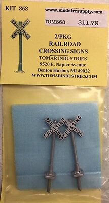 Tomar Industries H-868 HO 2 Crossbucks Railroad Crossing Signs MODELRRSUPPLY