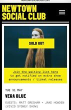 2 x Vera Blue tickets 31 May Newtown Social Club Mona Vale Pittwater Area Preview