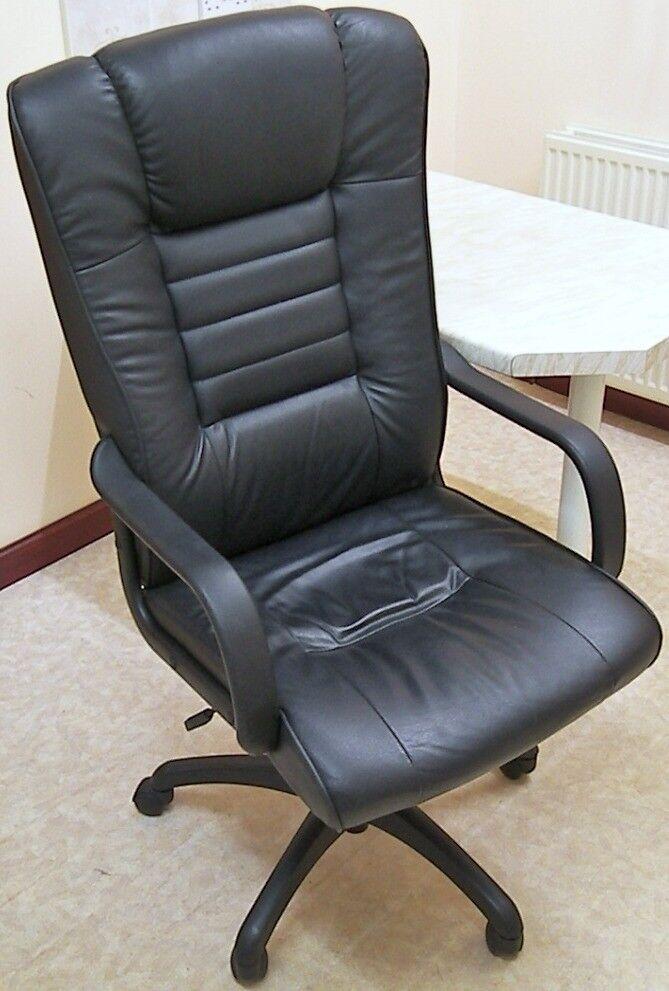High Back Black Leather Executive Office Chair Height Adjustment Tilt Tensioner
