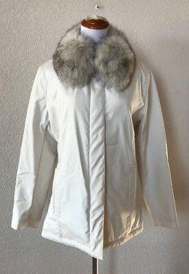 Bernardo Fashions Thermolite Water Repellent Coat White Fur Collar Size Small