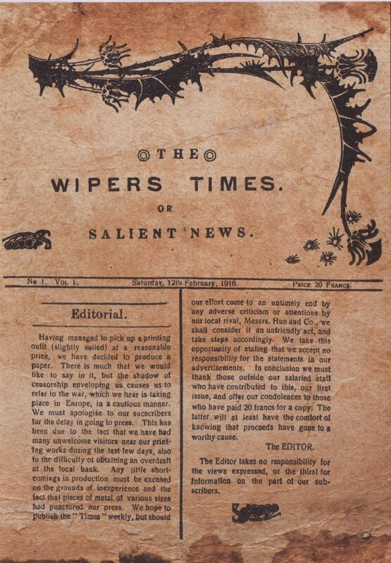 The Wipers Times Trench Magazine World War I 12th Feb 1916 Volume 1 Army Memory