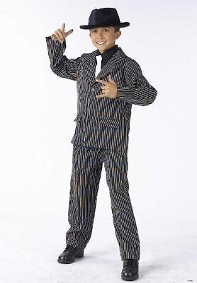 Boys Child Black Pin Stripe Gangster Gangsta Suit Tux Costume - Boys Gangster Suit