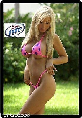 Beer Babe (Miller Lite Beer Pink Bikini Babe Refrigerator Magnet )