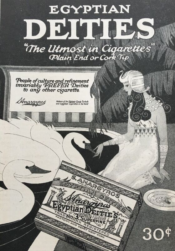 Antique 1919 Egyptian Deities Cigarette Advertisement Print Ad