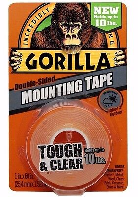 Gorilla Tape 6065001 Mounting Tape Clear - Holds Up To 10lb