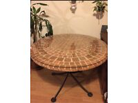 Terracotta Tiles Glass Top Garden Table